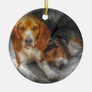 Brother Beagles Ceramic Ornament