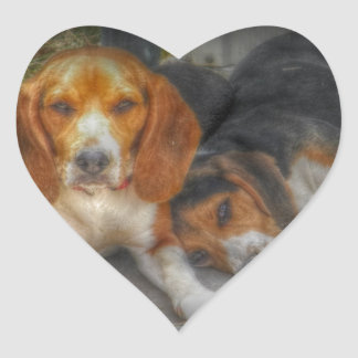 Brother Beagles Heart Sticker