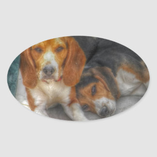 Brother Beagles Oval Sticker
