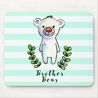 Brother Bear Ink and Watercolor Illustration Mouse Pad
