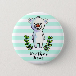 Brother Bear Ink and Watercolor Illustration Pinback Button