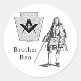 Brother Ben Franklin Pegatinas Redondas