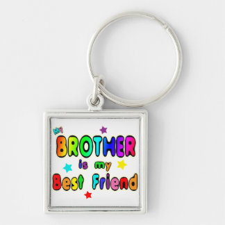 Brother Best Friend Silver-Colored Square Keychain