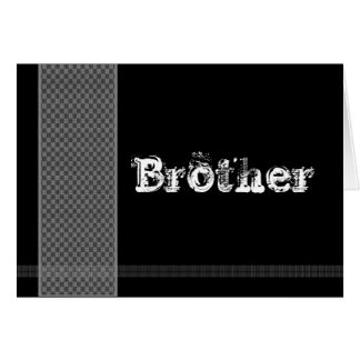 Brother - Best Man Card - Black and Silver Checks