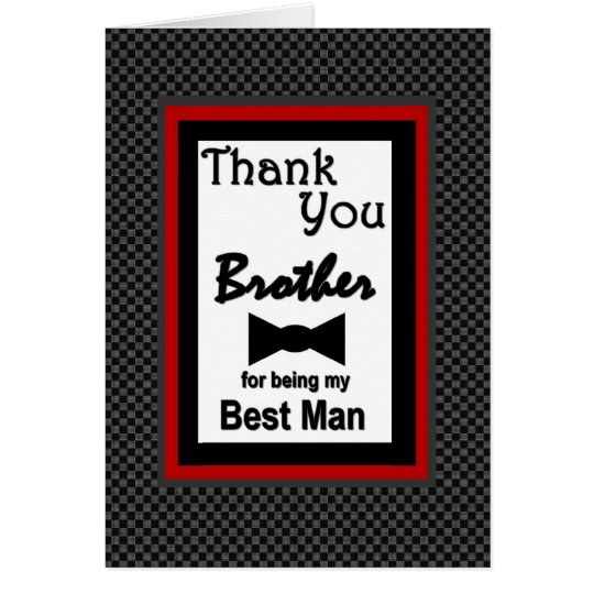 BROTHER Best Man Wedding Thank You with Bow Tie Card