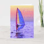"""Brother birthday card<br><div class=""""desc"""">Sailboard with coloful sail on bright blue water with sunset and text reading,  """"Happy birthday to my brother!""""  Inside text is targeted for brother relationship.</div>"""