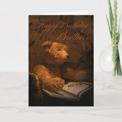 Brother Birthday Card With Teddy Bear Reading A Bo from