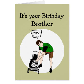 Brother Birthday Funny Lawnmower Insult Greeting Card