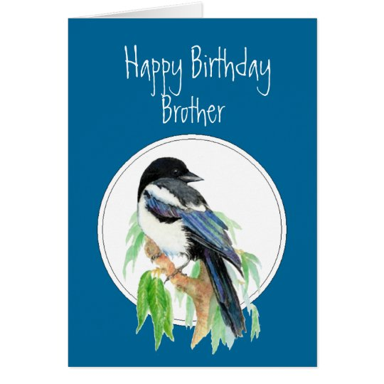 Brother Birthday Magpie, Bird, Nature Card