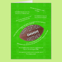 Brother birthday, really bad football jokes card