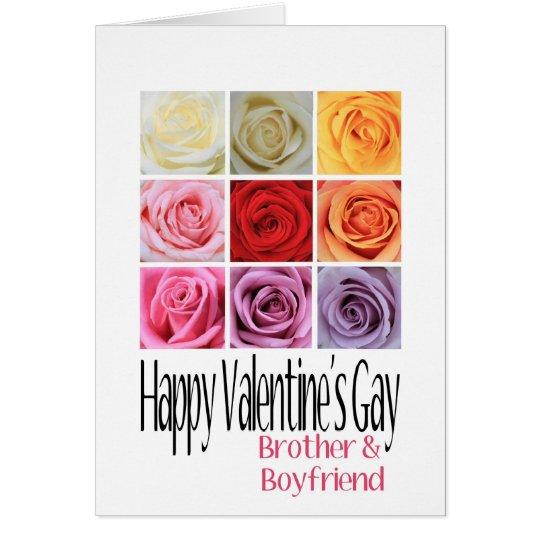 Brother Boyfriend Valentine's Gay, Rainbow Roses Card