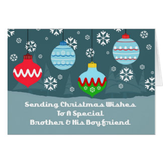 Brother & Boyfriend Vintage Ornaments Christmas Card