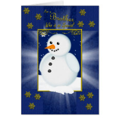 Brother Christmas Card, Blue With Snowman Card at Zazzle
