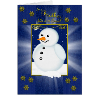 brother christmas card, blue with snowman card