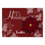 Brother Christmas card red poinsettia