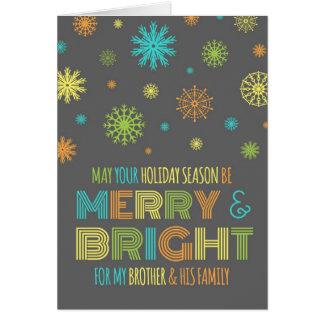Brother colorido y tarjeta de Navidad de la famili