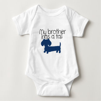 Brother (Dachshund) has a tail (blue) Baby Bodysuit