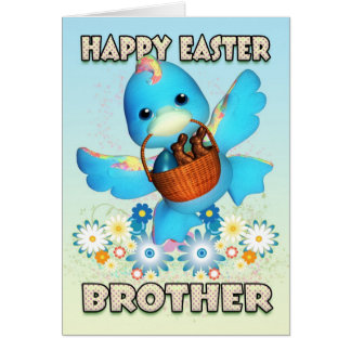 Brother Easter Card - Cute Duck With Basket Of Tre
