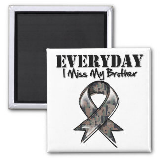 Brother - Everyday I Miss My Hero Military 2 Inch Square Magnet