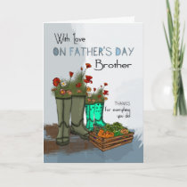 Brother Father's Day Greeting Card With Rain Boots