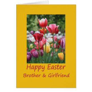 Brother & Girlfriend Happy Easter Tulip card