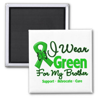 Brother - Green  Awareness Ribbon 2 Inch Square Magnet