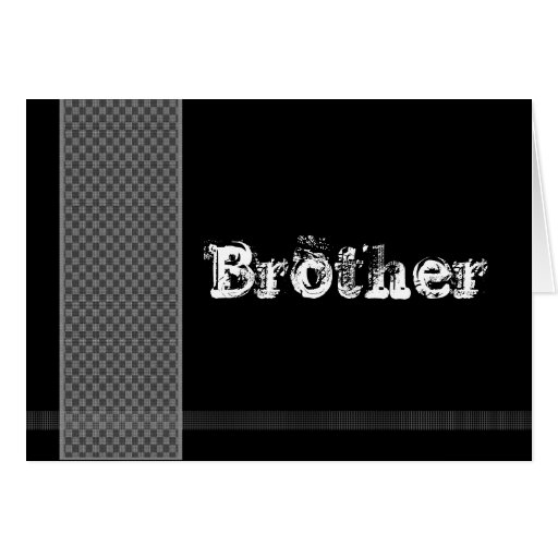 BROTHER - Groomsman - Black and Silver Checks Greeting Card