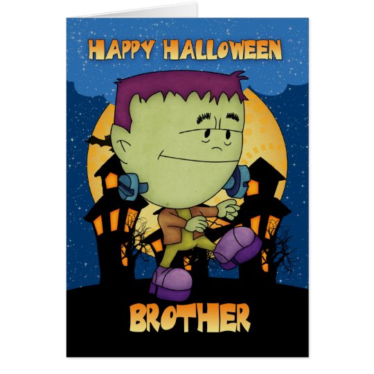 brother halloween card with frankie stomping