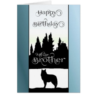Brother Happy Birthday - Wolf Silhouette / Nature Card