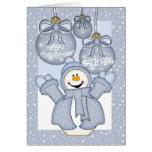 brother, happy snowman christmas card - merry chri