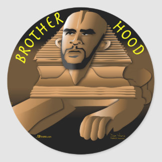 Brother Hood black Classic Round Sticker