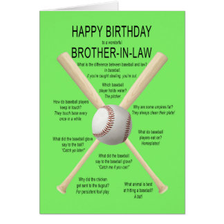 Brother-in-law, birthday baseball jokes card