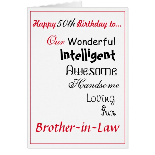 Brother In Law Birthday Card 50th Maleys Card Zazzle