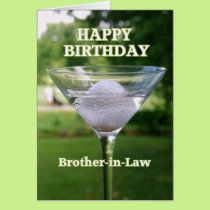 Brother-in-Law Martini Golf Ball Birthday Card