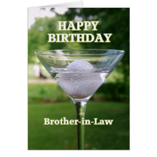 Brother-in-Law Martini Golf Ball Birthday Cards