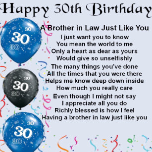 Brother In Law Poem 30th Birthday Gift Box