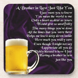 Brother in Law Poem - Beer Design Drink Coaster