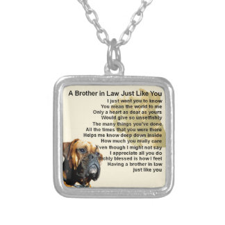 Brother in Law Poem - Boxer Dog Silver Plated Necklace