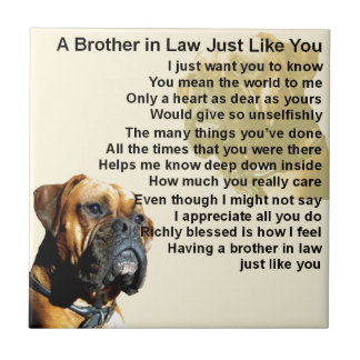 Brother in Law Poem - Boxer Dog Small Square Tile