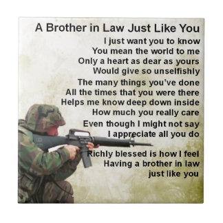 Brother in Law Poem - Soldier Design Small Square Tile