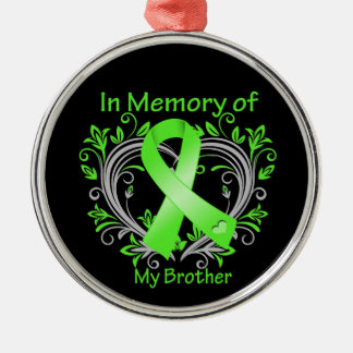 Brother - In Memory Lymphoma Heart Round Metal Christmas Ornament