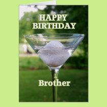 Brother Martini Golf Ball Happy Birthday Card