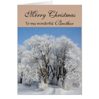 Brother Merry Christmas - Frosted Trees Card