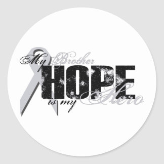 Brother mi héroe - esperanza del pulmón etiqueta redonda
