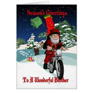 Brother Motorcycle Santa With Flying Gifts Card