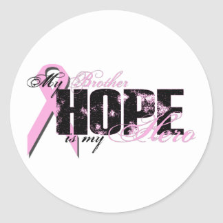 Brother My Hero - Breast Cancer Hope Classic Round Sticker