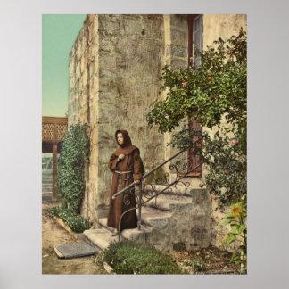 Brother Odoricus at Mission Santa Barbara in Calif Print