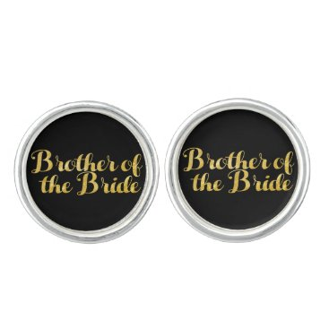 Wedding Themed Brother of the bride gold cufflinks
