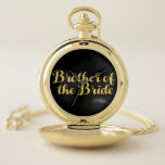 "Brother of the bride gold pocket watch<br><div class=""desc"">A unique design combining gold and a superb typography.</div>"