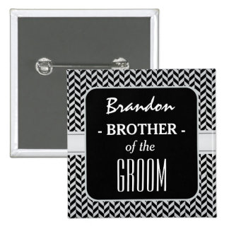 BROTHER OF THE GROOM Trendy Houndstooth A03 Pinback Button